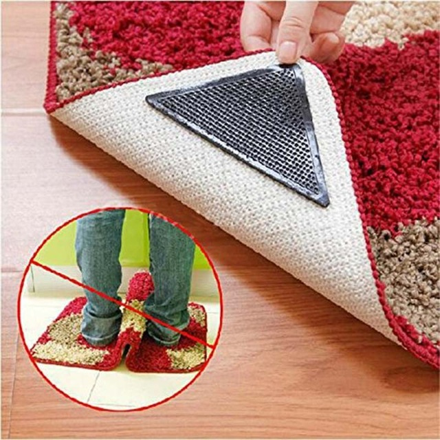 4pcs Rug Carpet Mat Grippers Triangle Non Slip